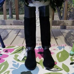 Vince Camuto tall black leather & suede boots